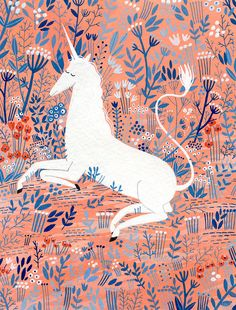"""Unicorn,"" a modern take on the Met's unicorn tapestry by Yelena Bryksenkova"