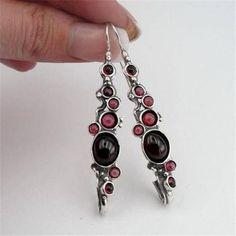 Hadar Jewelry handmade Dangle 925 Sterling Silver Red Garnet Earrings