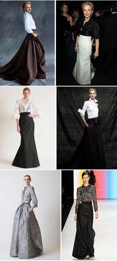 Idéias de looks com saia longa e camisa para festas de casamento
