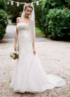 Organza Fit and Flare with Embellished Lace - David's Bridal - mobile