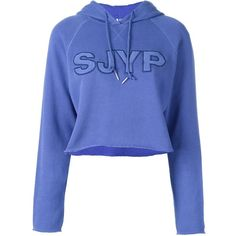 Steve J & Yoni P Embroidered Logo Crop Hoodie ($178) ❤ liked on Polyvore featuring tops, hoodies, crop top, crop, sweatshirt, blue, blue hoodies, blue crop top, blue top and cropped hoodie