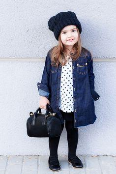 #MissKaira wearing #denim #shirtdress, #polkadot t-shirt and #kidsfashion