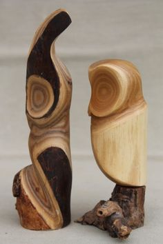 Pair of owls vintage rustic modern abstract wood carvings sculpture Peterson - Canada