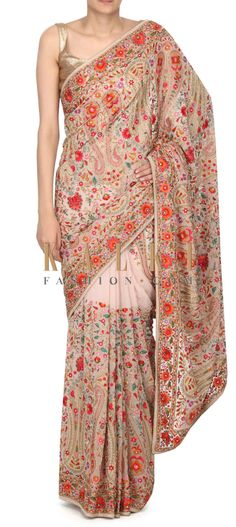 Buy this Cream saree in kashmirir thread work only on Kalki Saree Draping Styles, Saree Styles, Beautiful Saree, Beautiful Outfits, Beautiful Clothes, Elegant Outfit, Elegant Dresses, Indian Dresses, Indian Outfits