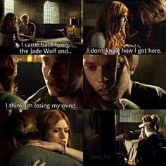 """An amazing scene from last nights episode. It brought tears to my eyes. They love each other so much. And i love what jace said: """"you may be strong, but my love for her is stronger"""". #clace"""