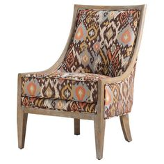 Add a bold touch to your living room or den with this lovely side chair, showcasing an ikat-inspired motif and sloped arms.  Product...