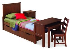 Dillon Panel Bed with Desk, Desk Chair, Nightstand, and Three Drawer Underbed Storage