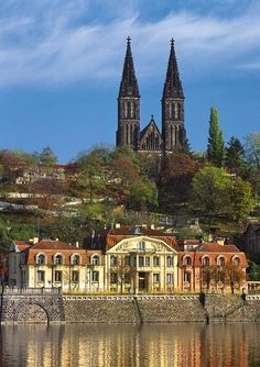 Vyšehrad fortress with basilic of St.Peter and Paul and cubistic house by Josef Chochol, Prague, Czechia