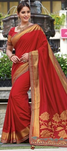 Traditional Red and Maroon color Saree in Raw Silk, Silk fabric with Thread work Raw Silk Saree, Silk Sarees, Traditional Sarees, Thread Work, Maroon Color, Festival Wear, Silk Fabric, Sari, Red