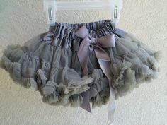 Baby Toddler Girls Gray Pettiskirt Tutu Skirt Fluffy Party Dress by adorablebyme on Etsy https://www.etsy.com/listing/193065569/baby-toddler-girls-gray-pettiskirt-tutu