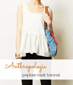 Anthropologie peplum tank knock off sewing tutorial