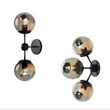 L'industrie rétro Noir/or mur lumière moderne mur lampe haricot Magique boule de verre applique murale LED ballon rond mur lampe 110 V 220 V(China (Mainland))