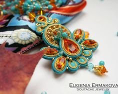 Size: Total length: 59 cm / 23,2 Lenght of pendant with tassel: 17,5 cm / 6,9  Materials: Soutache cord, Swarovski crystals and pearls, Toho beads, ultra suede is on the back. Color: Bright lemon yellow with silver grey  Available to order, Ill be glad to make this soutache pendant for you! Order processing time: 10 business days.  Care: The main rules are to avoid getting wet, put soutache jewelry after using cosmetics, creams, perfume and hair spray, don't twist and avoid kinks. D...