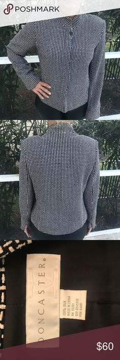 Doncaster Silk Blazer / Jacket / Top Beautiful Silk  Blazer / Jacket by Doncaster - EUC. Black and white. Great for Fall Doncaster Jackets & Coats Blazers