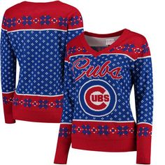 Chicago Cubs Women's Big Logo V-Neck Pullover Sweater - Royal