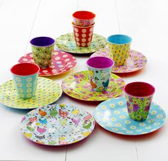 melamine two tone plates & cups, rice dk