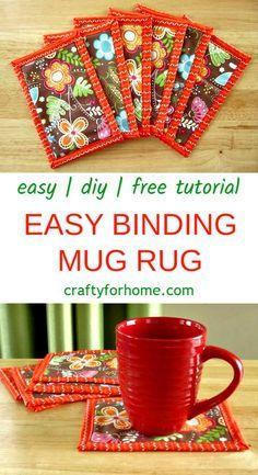 Easy Binding Mug Rug Binding Easy Mug Rug! Easy Binding Mug Rug Binding Easy Mug Rug! easy binding mug rug simple bin Small Sewing Projects, Sewing Projects For Beginners, Sewing Hacks, Sewing Tutorials, Sewing Crafts, Sewing Tips, Sewing Ideas, Sewing Blogs, Craft Tutorials