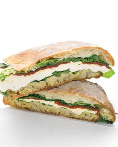 We've got hearty and delicious vegetarian sandwiches that will fuel you all afternoon. Enjoy fresh and healthy hummus and vegetables on whole grain bread, toasty panini, roasted vegetable wraps, and lots more.Layer cheese, tomatoes, and fresh parsley on ciabatta bread and weigh the sandwich down with heavy cans to meld the flavors for at least an hour before seving. Drain some of the oil from a jar of sun-dried tomatoes and mix it with Dijon mustard to make a unique sandwich spread.