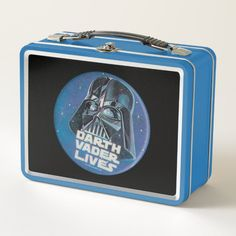 "Vintage ""Darth Vader Lives"" Helmet Badge Metal Lunch Box #star #wars #retro #vintage #classic #MetalLunchBox"