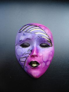 coloured muses mask, all polymer clay by Leila Bidler - pls do not copy the design - made for a mask swap in 2011