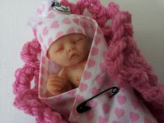 "OOAK 4"" Polymer Clay Baby Girl Art Doll"