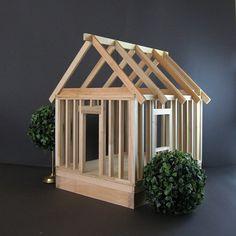 Large Wood Model Home - Vintage Carpentry Class Project - Industrial Home Decor Open Concept Miniature House DIY Project Wood Art Sculpture