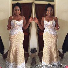 wendyfinishing Newly kente design for my bride African Attire, African Wear, African Women, African Dress, African Print Fashion, African Fashion Dresses, African Prints, Kente Dress, Ghana Wedding