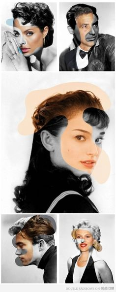 Angelina Jolie/Elizabeth Taylor, George Clooney/Carey Grant, Natalie Portman/Audrey Hepburn, Robert Pattinson/James Dean, Scarlett Johansson/Marilyn Monroe