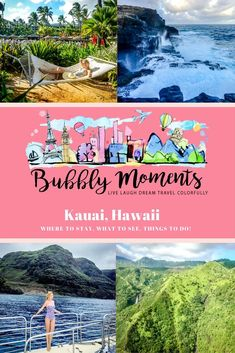 "Things to Do in Kauai Hawaii. Where to Stay in Kauai. It is the fourth largest island, known as the ""garden isle"". Dramatic cliffs and pristine beaches. Hawaii Life, Kauai Hawaii, Hawaii Vacation, Hawaii Travel, Canada Travel, Travel Usa, Travel Packing, Budget Travel, Manchester Travel"