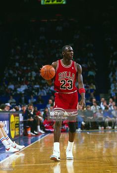Michael Jordan #23 of the Chicago Bulls dribbles the ball up court against the Washington Bullets during an NBA basketball game circa 1988 at the Capital Centre in Landover, Maryland. Jordan played for the Bulls from 1984-93 and 1995 - 98.
