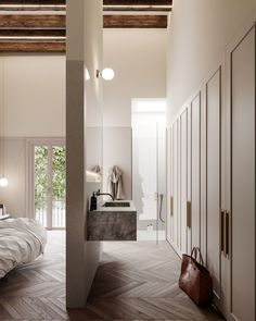 Open-concept bath, wardrobe and master bedroom design Bathroom Interior Design, Decor Interior Design, Interior Decorating, Decorating Tips, Foyer Decorating, Decorating Websites, Interior Design Minimalist, Home Design, Floor Design
