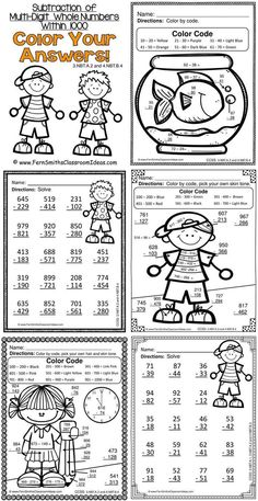 Color Your Answers Printables - Subtraction of Multi-Digit Whole Numbers Within… 2nd Grade Teacher, Second Grade Math, Fourth Grade, Go Math, Math For Kids, Math Rotations, Math Centers, Numeracy, Math Resources