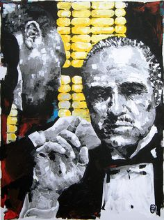 """The Godfather"", original canvas painting by Michael Leporati. Marlon Brando plays Don Vito Corleone in, 'The Godfather', famed 1972 American crime noir directed by the one and only Francis Ford Coppola and produced by Albert S. Ruddy from a screenplay by Mario Puzo and Coppola."