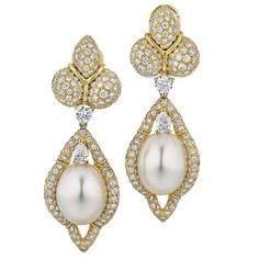 Henry Dunay ~ Cultured Pearl Diamond Gold Drop Earrings