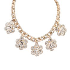 Europe And America Ruili Delicate Rhinestone Flower Necklaces & Pendants[US$8.07]shop at www.favorwe.com