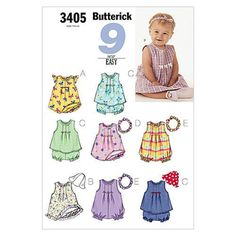 Butterick B3405 Infants' Dress Top Romper Panties Hat & Headband