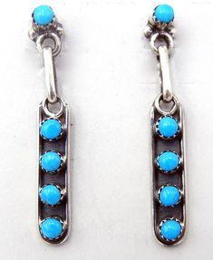 925 Sterling Silver Turquoise Dangle Drop Earrings EAR-223