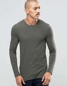 ASOS Extreme Muscle Long Sleeve T-Shirt With Crew Neck In Khaki