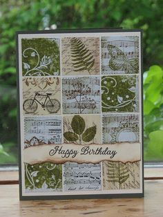 mosaic tile background with scrap papers and stamp images on each? like the colors and images..