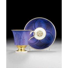 MEISSEN MATT BLUE-GROUND CABINET CUP AND SAUCER CIRCA 1820