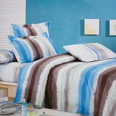 Brown and Blue Graffiti 100 Percent Cotton 3PC Comforter Cover Duvet Cover Combo