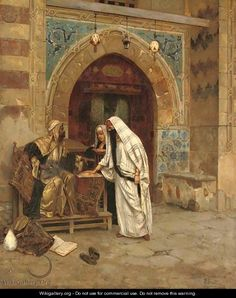 Rudolph Ernst Paintings | The Egyptian Fortune Teller - Rudolph Ernst