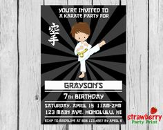 Karate Birthday Invitation Karate Party by StrawberryPartyPrint