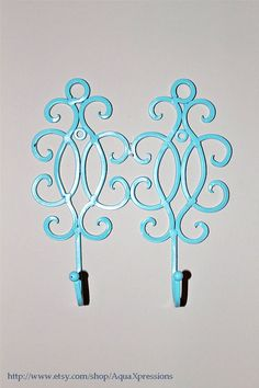 Hook Wall Hanger  Blue Ornate Double Shabby Chic by AquaXpressions, $18.00