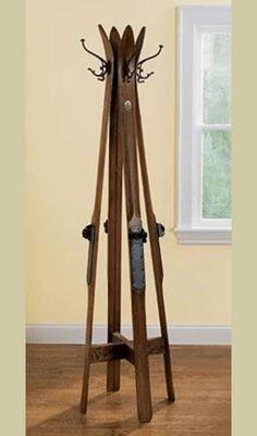 vintage skis repurposed into hall tree/ coat rack Tree Coat Rack, Diy Coat Rack, Coat Tree, Coat Racks, Coat Hanger, Coat Storage, Shoe Storage, Storage Ideas, Repurposed Furniture