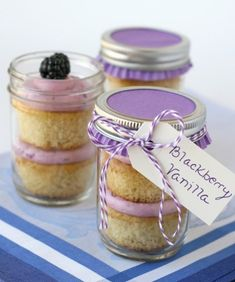 Blackberry Vanilla Cupcakes in a jar. There are a ton of jar cupcake recipes out there, but blackberry? Mason Jar Cupcakes, Mason Jar Desserts, Mason Jar Meals, Meals In A Jar, Easter Cupcakes, Flower Cupcakes, Christmas Cupcakes, Hydrangea Cupcakes, Halloween Cupcakes