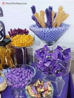 college graduation party, college graduation dessert table, college grad candy buffet, purple and gold candy buffet, University of Washington, UW Huskies, UDub