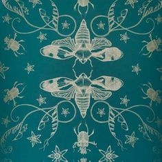 Love this deep color and the bugs are cool too!  Could make a great roman shade fabric.