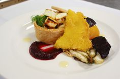 Main: Grilled Feta, Celeriac and Honey Tart with Roasted Beetroot, Fennel and Polenta Salad