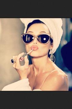 Glasses and lipstick